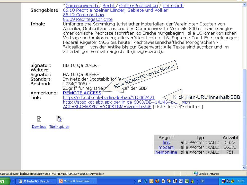 | Klick Han-URL innerhalb SBB Klick REMOTE von zu Hause