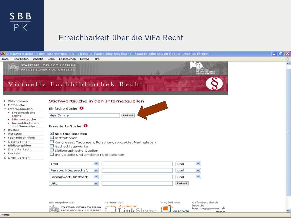 | Erreichbarkeit über die ViFa Recht