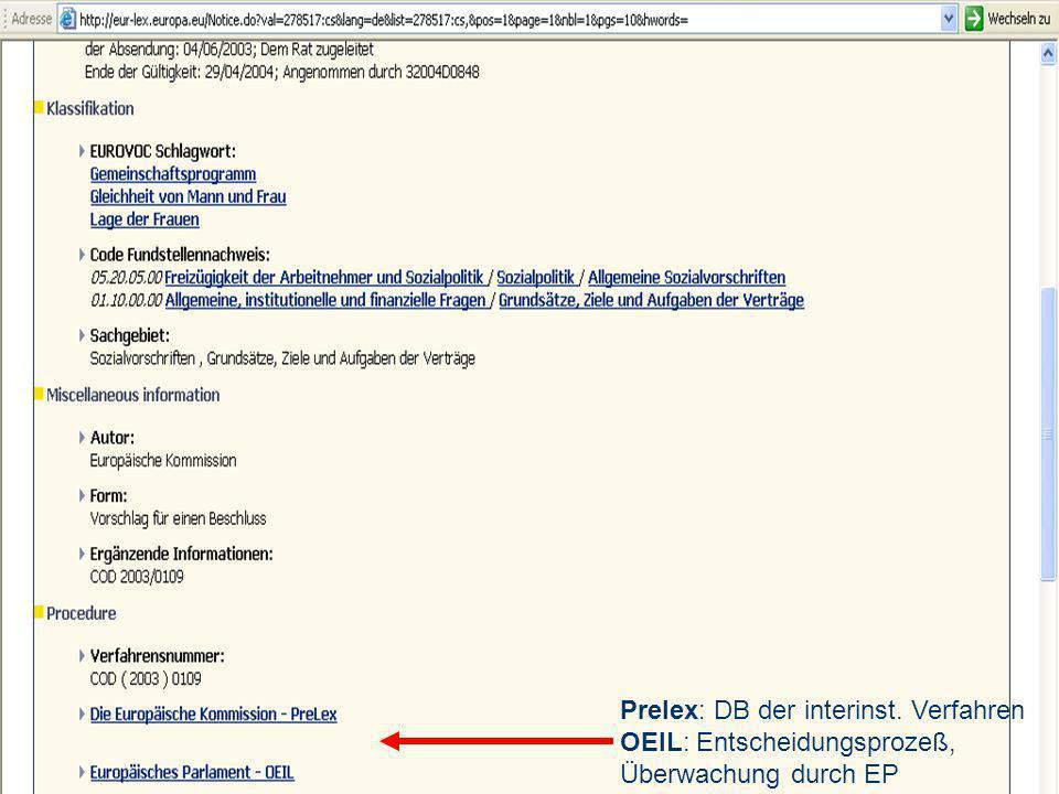 Prelex: DB der interinst. Verfahren OEIL: Entscheidungsprozeß, Überwachung durch EP