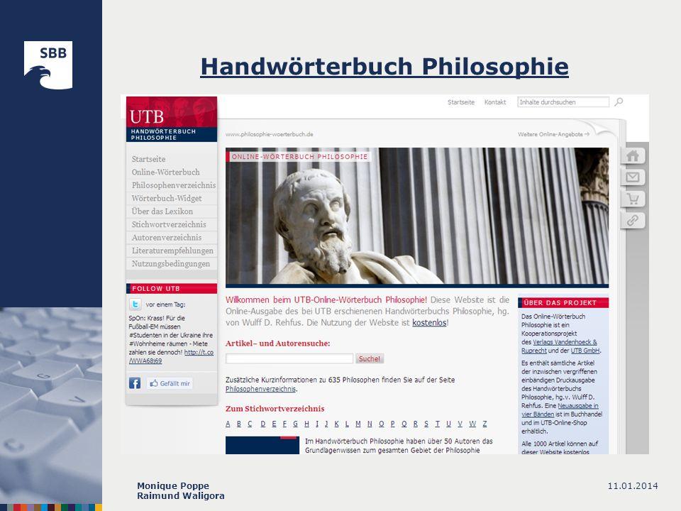11.01.2014Monique Poppe Raimund Waligora Handwörterbuch Philosophie