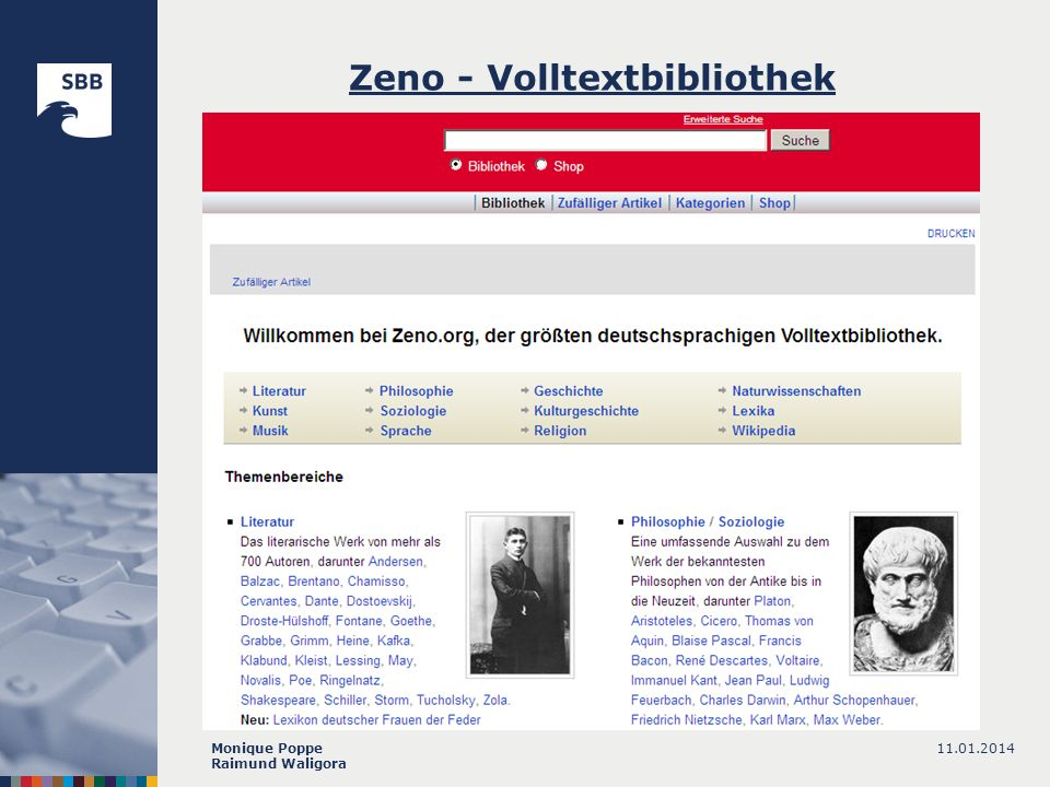 11.01.2014Monique Poppe Raimund Waligora Zeno - Volltextbibliothek