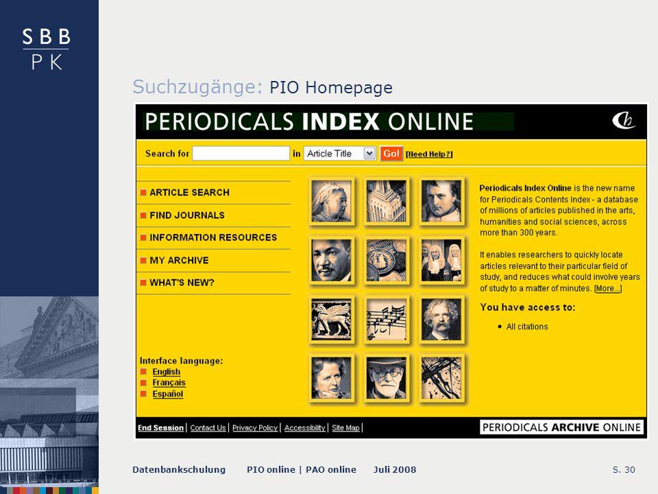 Datenbankschulung PIO online | PAO online Juli 2008S. 31 -- Quick Search