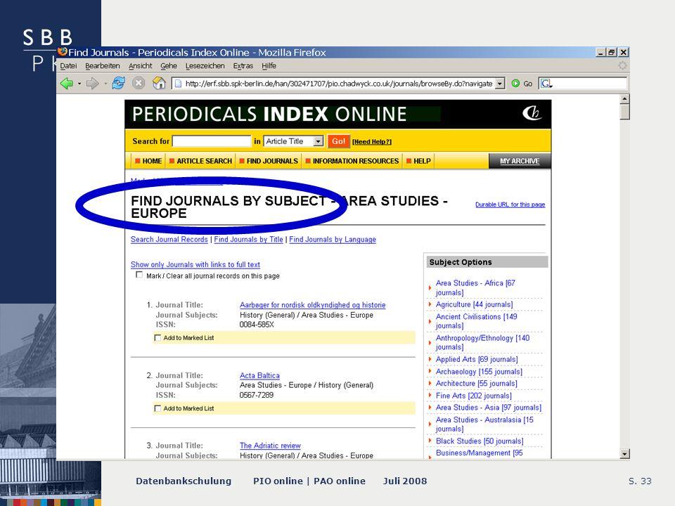 Datenbankschulung PIO online | PAO online Juli 2008S. 33 -- Find Journals