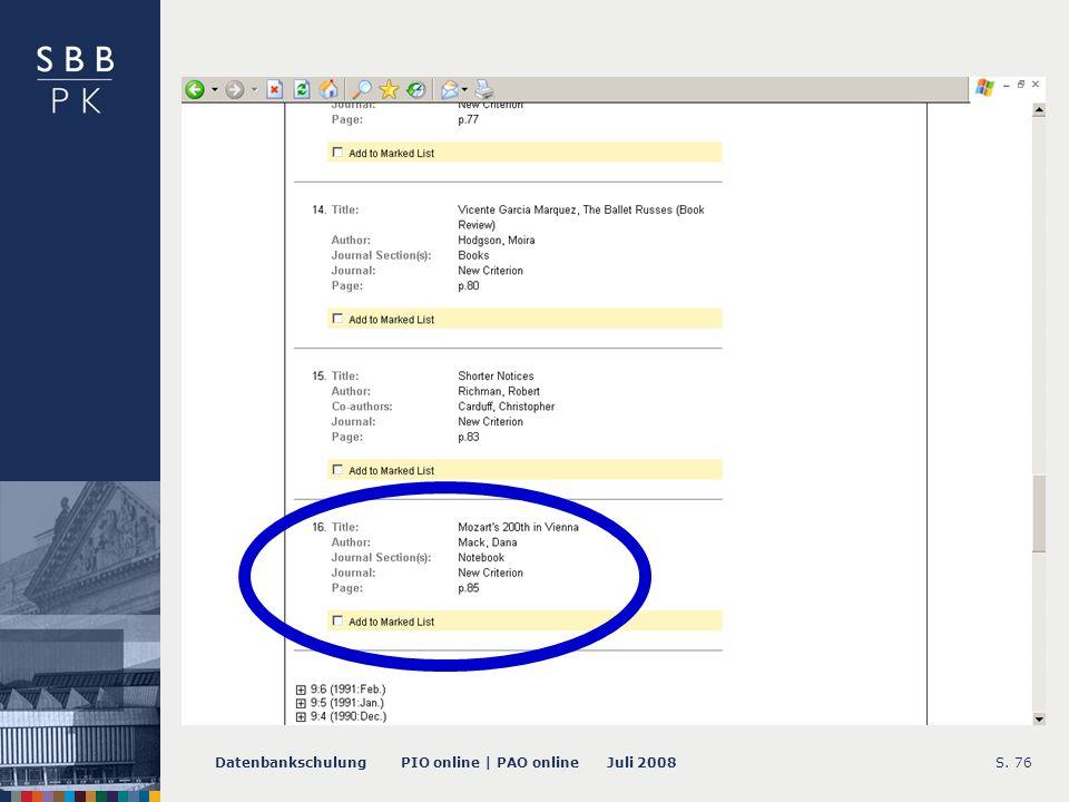 Datenbankschulung PIO online | PAO online Juli 2008S. 76 -- Issue Record