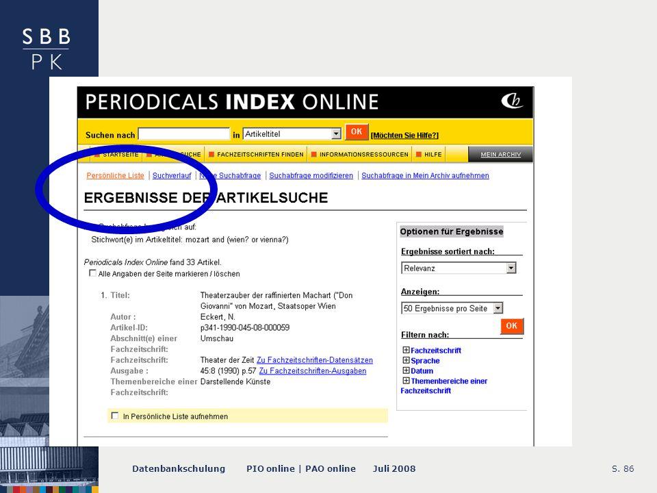 Datenbankschulung PIO online | PAO online Juli 2008S. 87 -- Marked List