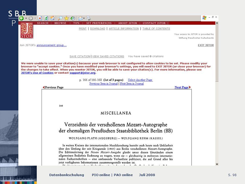 Datenbankschulung PIO online | PAO online Juli 2008S. 98 -- Volltext