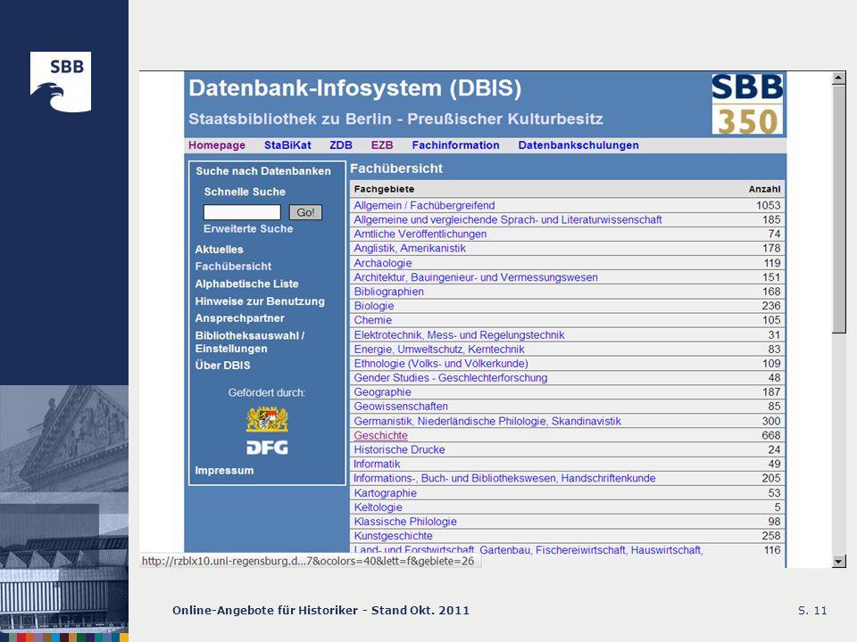 Online-Angebote für Historiker - Stand Okt. 2011S. 11