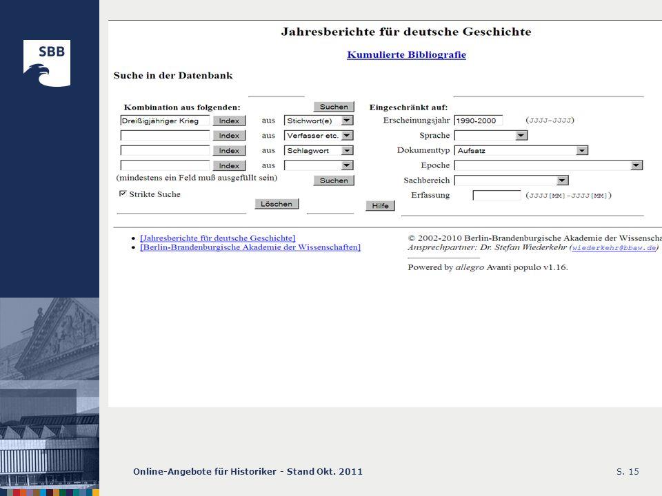 Online-Angebote für Historiker - Stand Okt. 2011S. 15