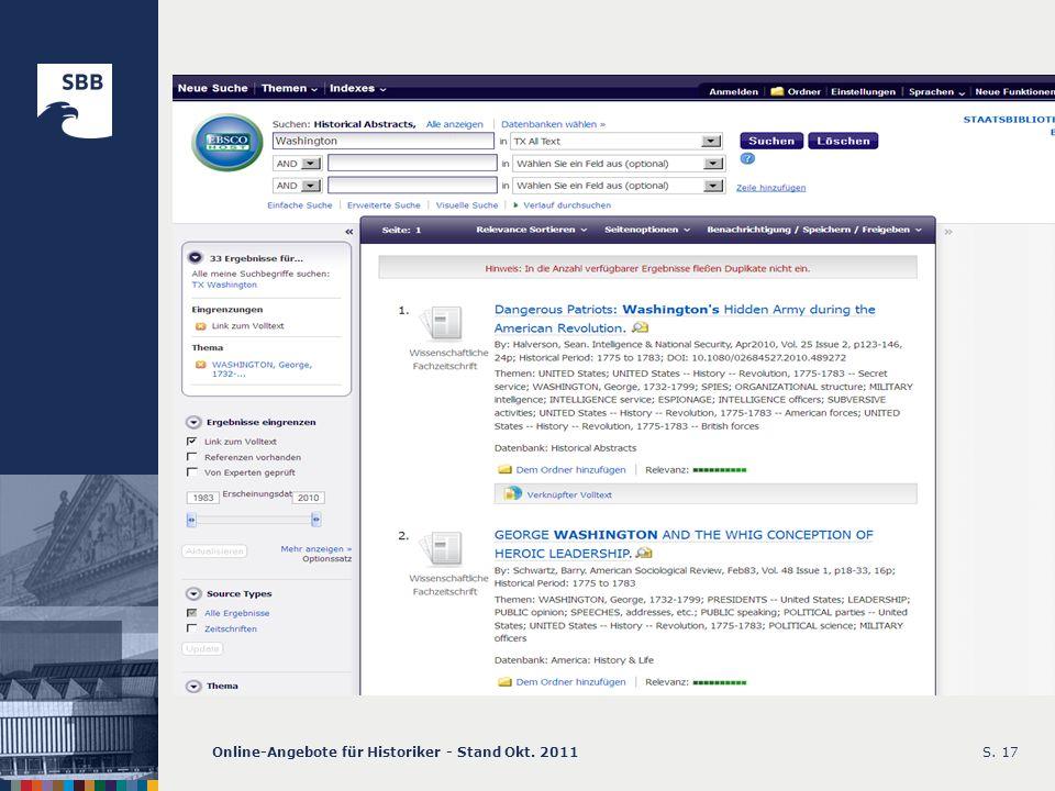 Online-Angebote für Historiker - Stand Okt. 2011S. 17