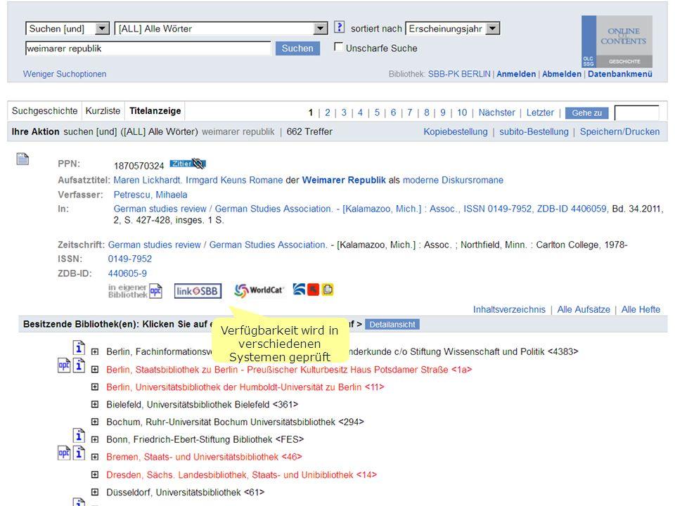 Online-Angebote für Historiker - Stand Okt. 2011S. 20 Verfügbarkeit wird in verschiedenen Systemen geprüft