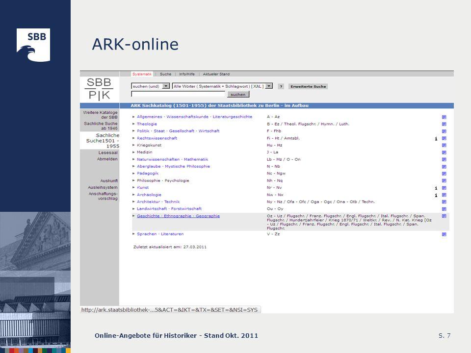 Online-Angebote für Historiker - Stand Okt. 2011S. 8 Lesesaalsystematik
