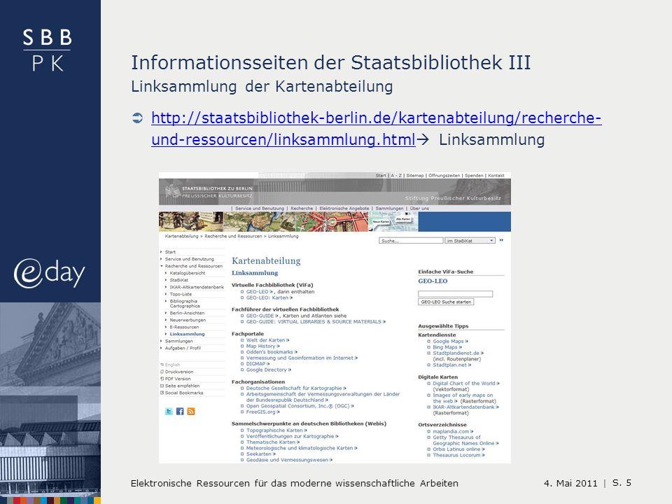 4. Mai 2011 | Elektronische Ressourcen für das moderne wissenschaftliche Arbeiten S.