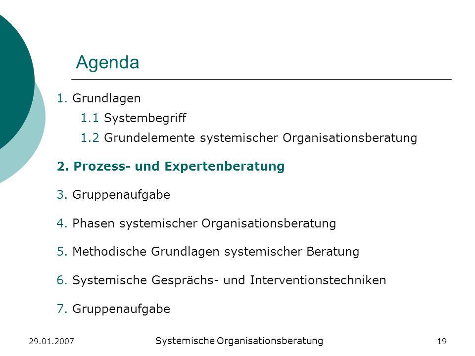 29.01.2007 Systemische Organisationsberatung 19 Agenda 1. Grundlagen 1.1 Systembegriff 1.2 Grundelemente systemischer Organisationsberatung 2. Prozess