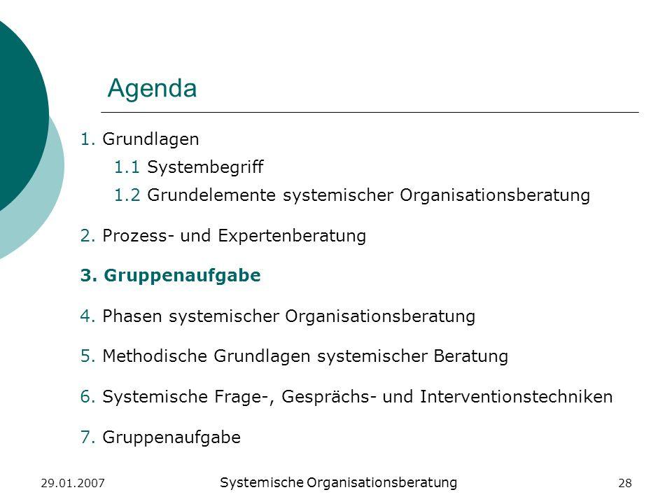 29.01.2007 Systemische Organisationsberatung 28 Agenda 1. Grundlagen 1.1 Systembegriff 1.2 Grundelemente systemischer Organisationsberatung 2. Prozess