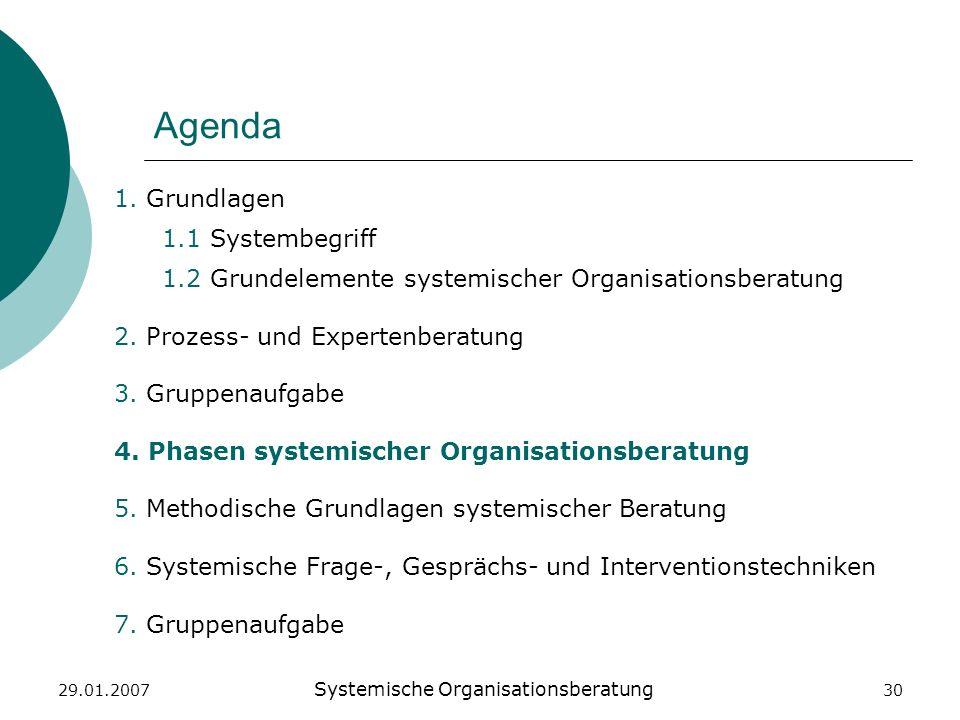 29.01.2007 Systemische Organisationsberatung 30 Agenda 1. Grundlagen 1.1 Systembegriff 1.2 Grundelemente systemischer Organisationsberatung 2. Prozess