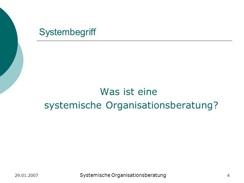 29.01.2007 Systemische Organisationsberatung 4 Systembegriff Was ist eine systemische Organisationsberatung?