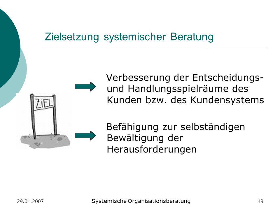 29.01.2007 Systemische Organisationsberatung 49 Zielsetzung systemischer Beratung Verbesserung der Entscheidungs- und Handlungsspielräume des Kunden b
