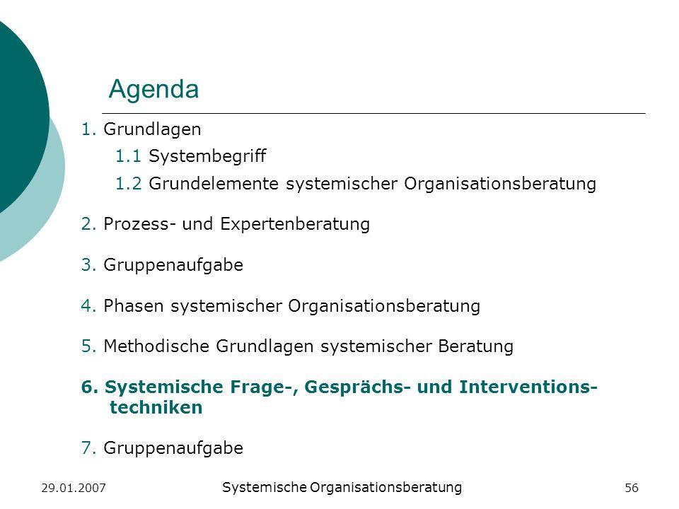 29.01.2007 Systemische Organisationsberatung 56 Agenda 1. Grundlagen 1.1 Systembegriff 1.2 Grundelemente systemischer Organisationsberatung 2. Prozess
