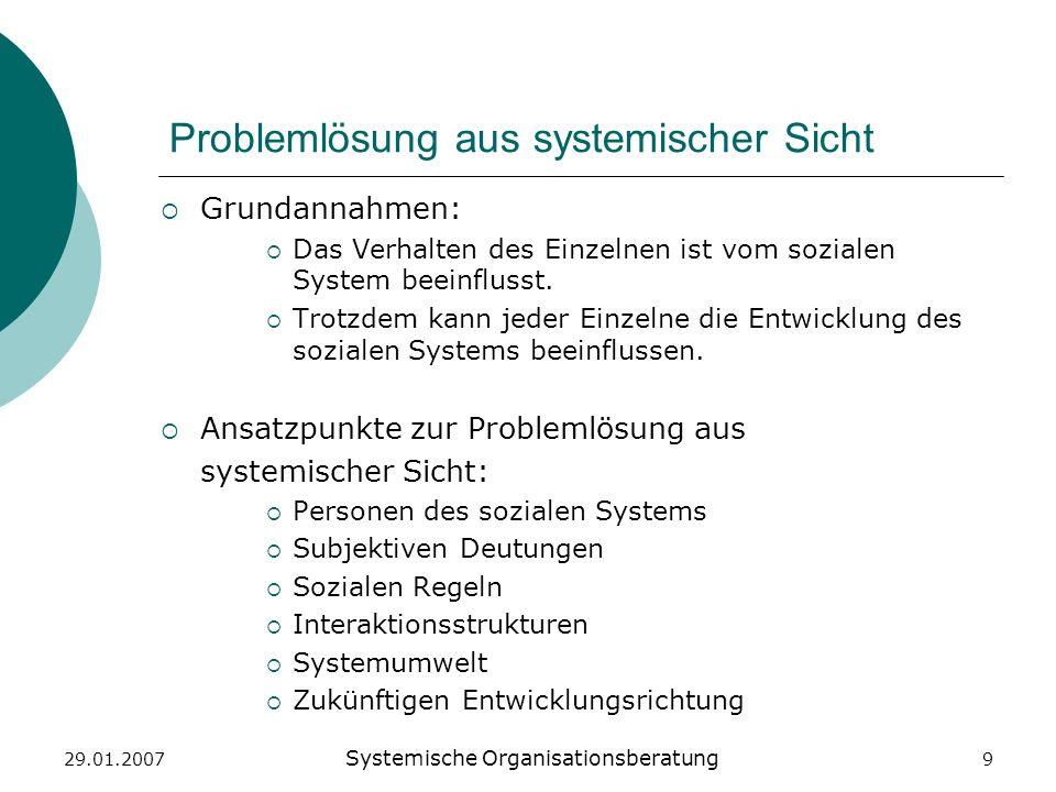 29.01.2007 Systemische Organisationsberatung 9 Problemlösung aus systemischer Sicht Grundannahmen: Das Verhalten des Einzelnen ist vom sozialen System