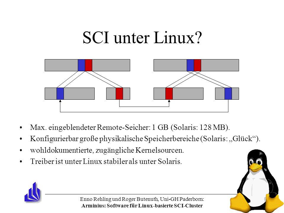 Enno Rehling und Roger Butenuth, Uni-GH Paderborn: Arminius: Software für Linux-basierte SCI-Cluster SCI unter Linux? Max. eingeblendeter Remote-Seich