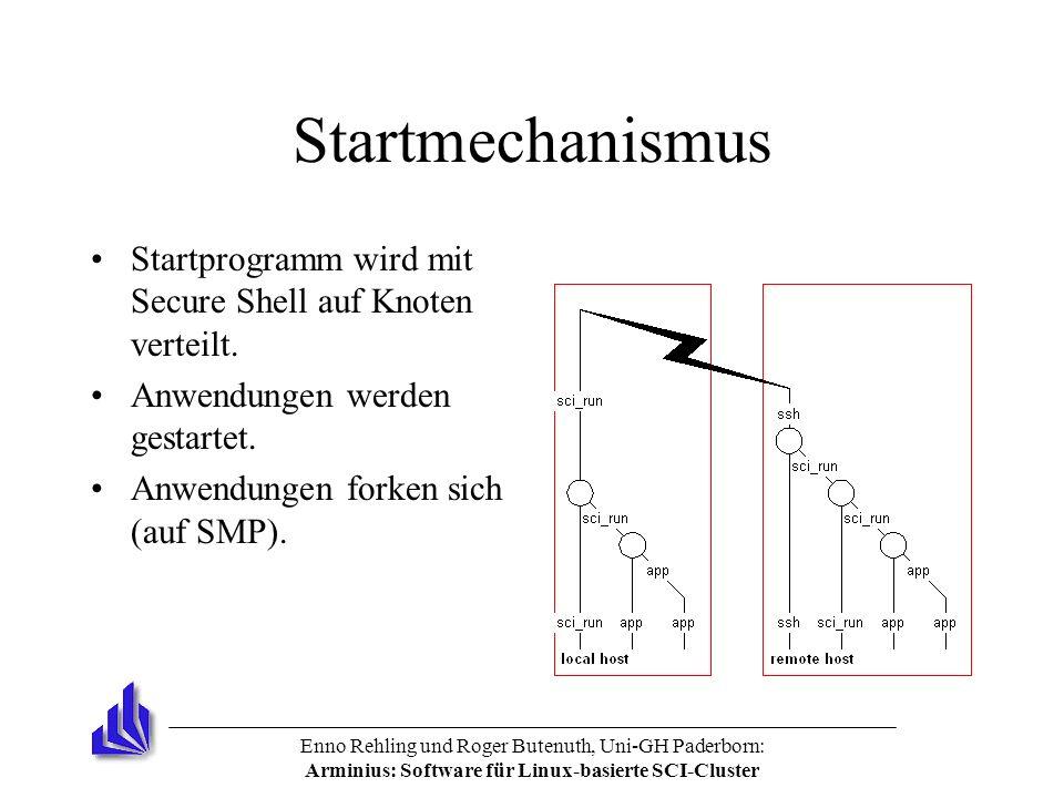 Enno Rehling und Roger Butenuth, Uni-GH Paderborn: Arminius: Software für Linux-basierte SCI-Cluster Startmechanismus Startprogramm wird mit Secure Shell auf Knoten verteilt.