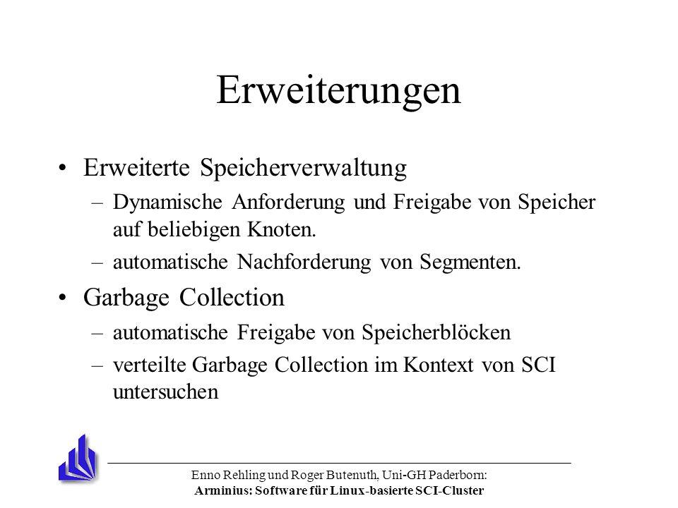 Enno Rehling und Roger Butenuth, Uni-GH Paderborn: Arminius: Software für Linux-basierte SCI-Cluster Erweiterungen Erweiterte Speicherverwaltung –Dynamische Anforderung und Freigabe von Speicher auf beliebigen Knoten.