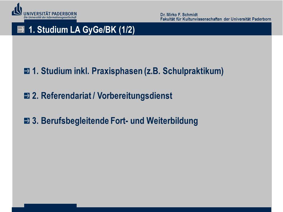 Dr. Mirko F. Schmidt Fakultät für Kulturwissenschaften der Universität Paderborn 1. Studium LA GyGe/BK (1/2) 1. Studium inkl. Praxisphasen (z.B. Schul