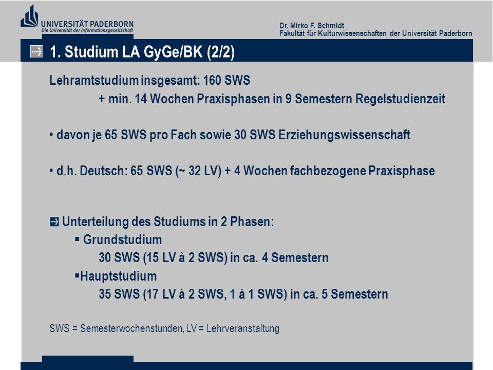 Dr. Mirko F. Schmidt Fakultät für Kulturwissenschaften der Universität Paderborn 1. Studium LA GyGe/BK (2/2) Lehramtstudium insgesamt: 160 SWS + min.