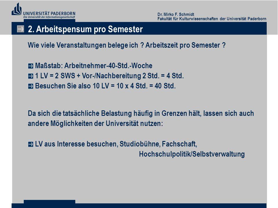 Dr. Mirko F. Schmidt Fakultät für Kulturwissenschaften der Universität Paderborn 2. Arbeitspensum pro Semester Wie viele Veranstaltungen belege ich ?