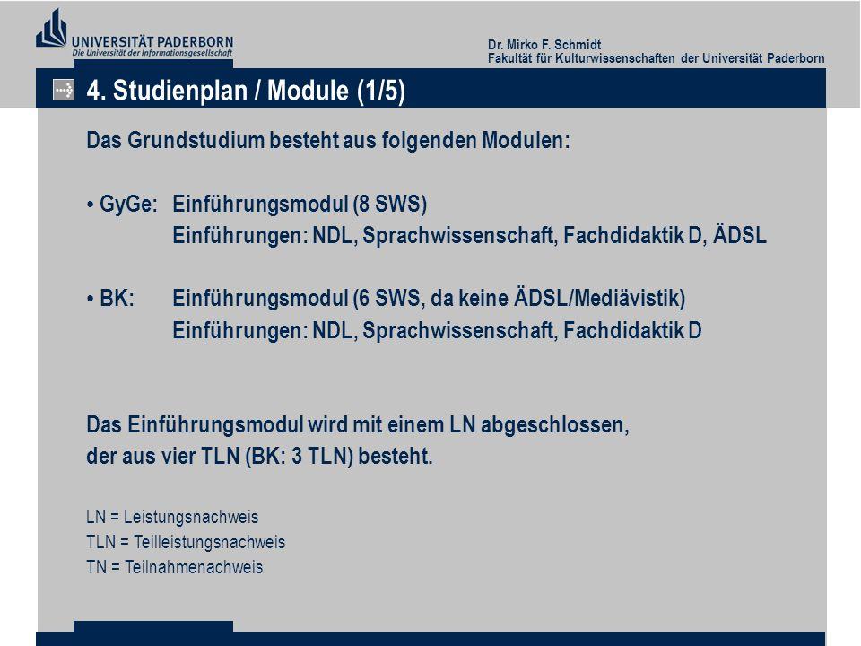 Dr. Mirko F. Schmidt Fakultät für Kulturwissenschaften der Universität Paderborn 4. Studienplan / Module (1/5) Das Grundstudium besteht aus folgenden