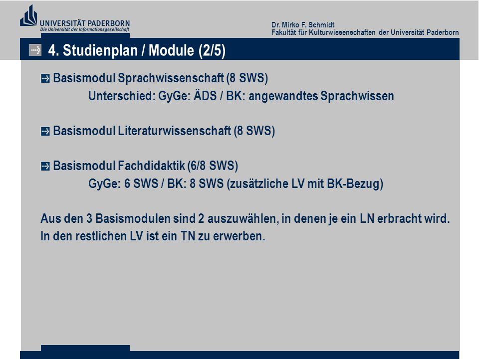Dr. Mirko F. Schmidt Fakultät für Kulturwissenschaften der Universität Paderborn 4. Studienplan / Module (2/5) Basismodul Sprachwissenschaft (8 SWS) U