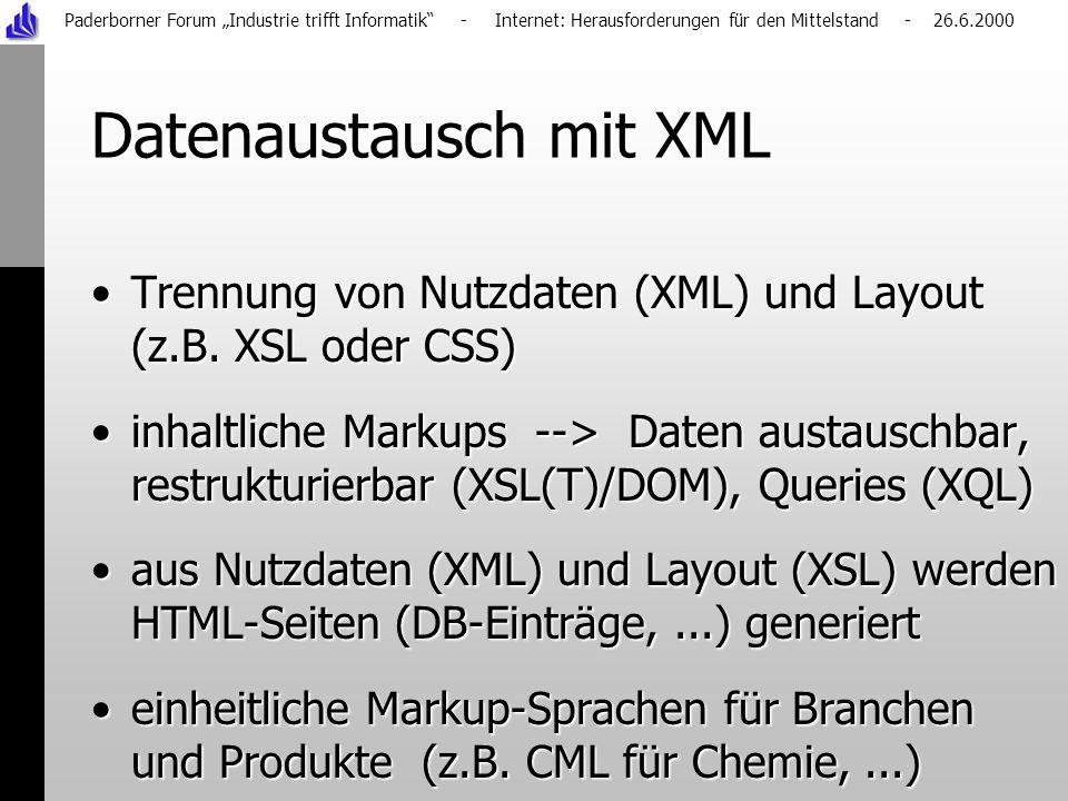 Paderborner Forum Industrie trifft Informatik - Internet: Herausforderungen für den Mittelstand - 26.6.2000 Datenaustausch mit XML Trennung von Nutzdaten (XML) und Layout (z.B.
