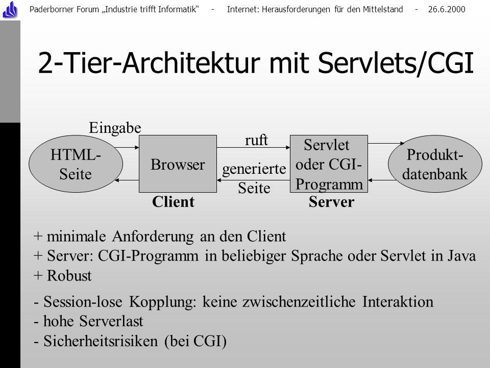 Paderborner Forum Industrie trifft Informatik - Internet: Herausforderungen für den Mittelstand - 26.6.2000 2-Tier-Architektur mit Servlets/CGI Servlet oder CGI- Programm Browser Produkt- datenbank HTML- Seite + minimale Anforderung an den Client + Server: CGI-Programm in beliebiger Sprache oder Servlet in Java + Robust - Session-lose Kopplung: keine zwischenzeitliche Interaktion - hohe Serverlast - Sicherheitsrisiken (bei CGI) Client Server ruft generierte Seite Eingabe