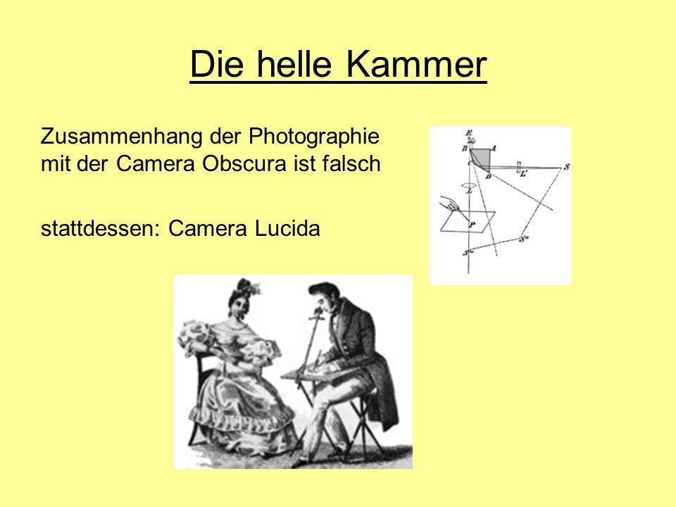 Die helle Kammer Zusammenhang der Photographie mit der Camera Obscura ist falsch stattdessen: Camera Lucida