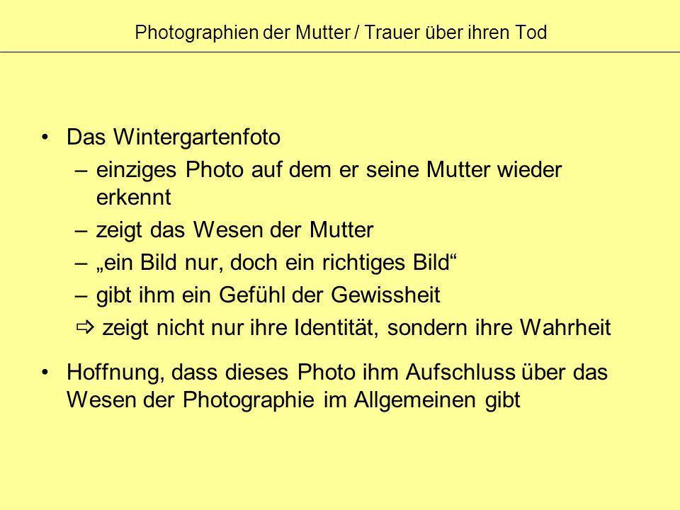 Photographien der Mutter / Trauer über ihren Tod Das Wintergartenfoto –einziges Photo auf dem er seine Mutter wieder erkennt –zeigt das Wesen der Mutt