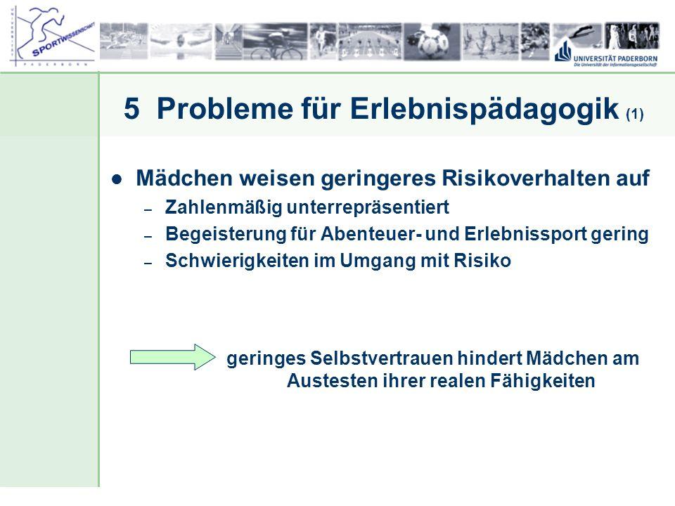 Dr. Stefan Hansen, Universität Paderborn, Fakultät für Naturwissenschaften, Department Sport & Gesundheit 5 Probleme für Erlebnispädagogik (1) Mädchen