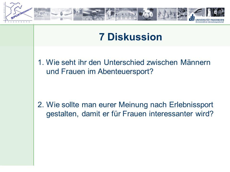 Dr. Stefan Hansen, Universität Paderborn, Fakultät für Naturwissenschaften, Department Sport & Gesundheit 7 Diskussion 1. Wie seht ihr den Unterschied