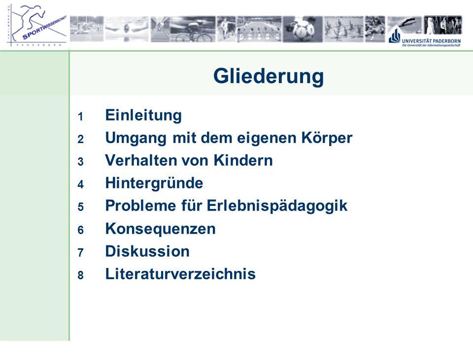 Dr. Stefan Hansen, Universität Paderborn, Fakultät für Naturwissenschaften, Department Sport & Gesundheit Gliederung 1 Einleitung 2 Umgang mit dem eig