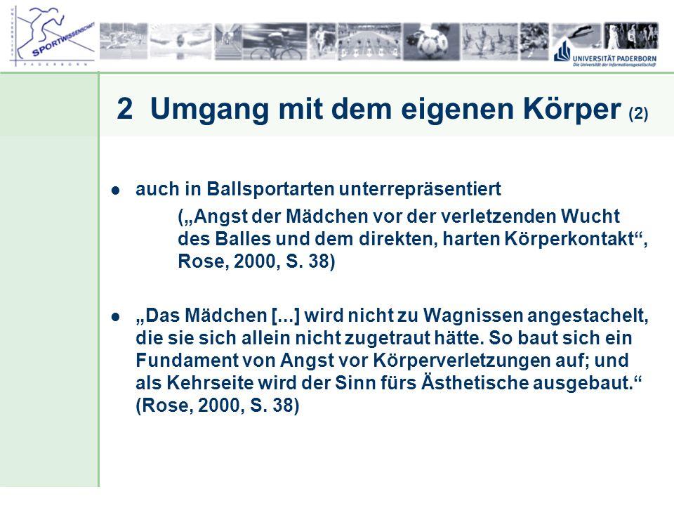Dr. Stefan Hansen, Universität Paderborn, Fakultät für Naturwissenschaften, Department Sport & Gesundheit 2 Umgang mit dem eigenen Körper (2) auch in