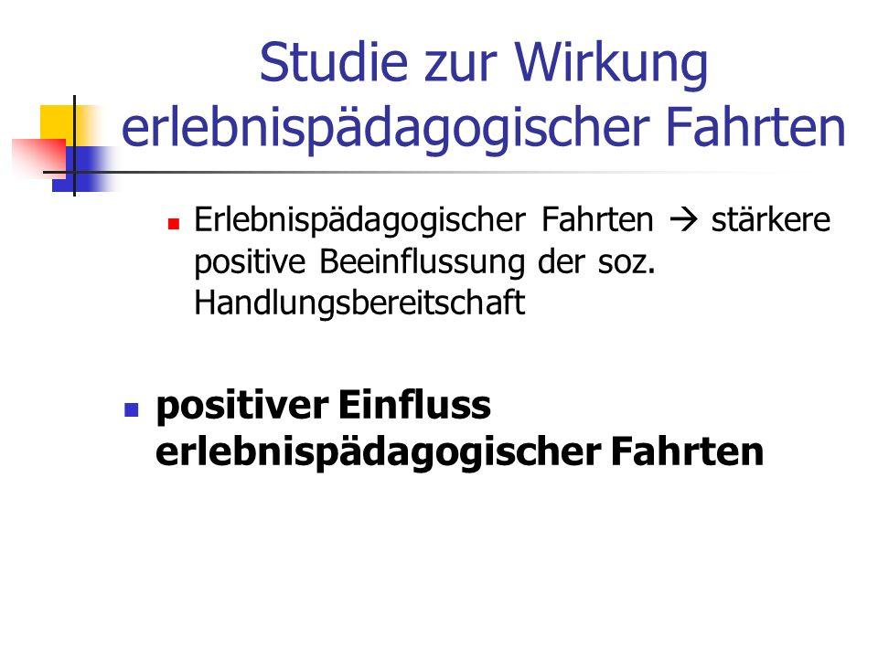 Studie zur Wirkung erlebnispädagogischer Fahrten Erlebnispädagogischer Fahrten stärkere positive Beeinflussung der soz.