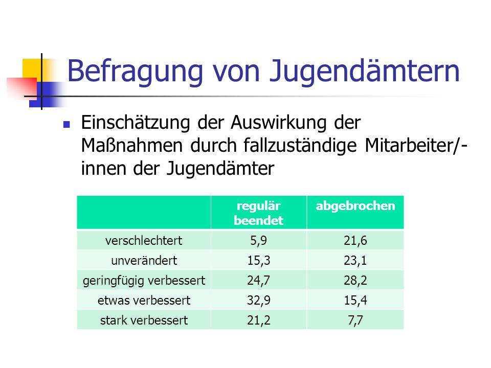 Befragung von Jugendämtern Einschätzung der Auswirkung der Maßnahmen durch fallzuständige Mitarbeiter/- innen der Jugendämter regulär beendet abgebrochen verschlechtert5,921,6 unverändert15,323,1 geringfügig verbessert24,728,2 etwas verbessert32,915,4 stark verbessert21,27,7