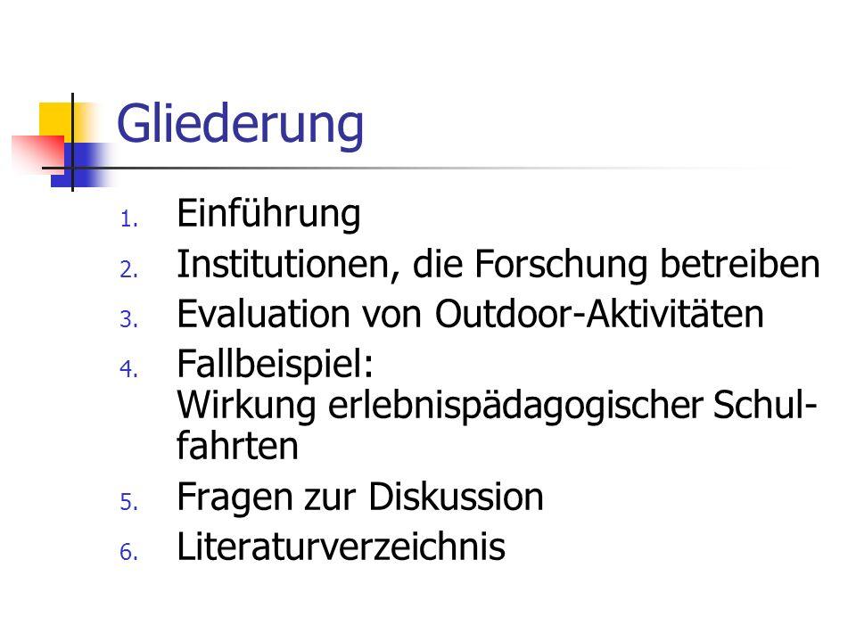 Gliederung 1.Einführung 2. Institutionen, die Forschung betreiben 3.
