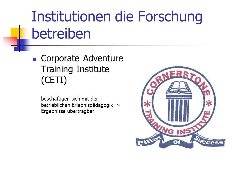 Institutionen die Forschung betreiben Corporate Adventure Training Institute (CETI) beschäftigen sich mit der betrieblichen Erlebnispädagogik -> Ergebnisse übertragbar