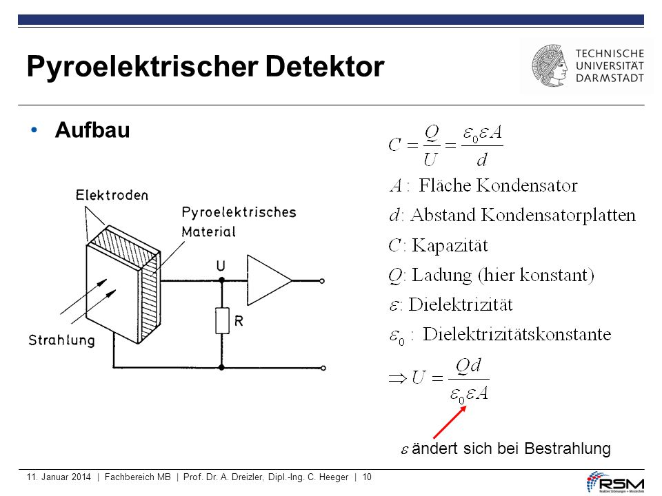 11. Januar 2014 | Fachbereich MB | Prof. Dr. A. Dreizler, Dipl.-Ing. C. Heeger | 10 Aufbau ändert sich bei Bestrahlung Pyroelektrischer Detektor