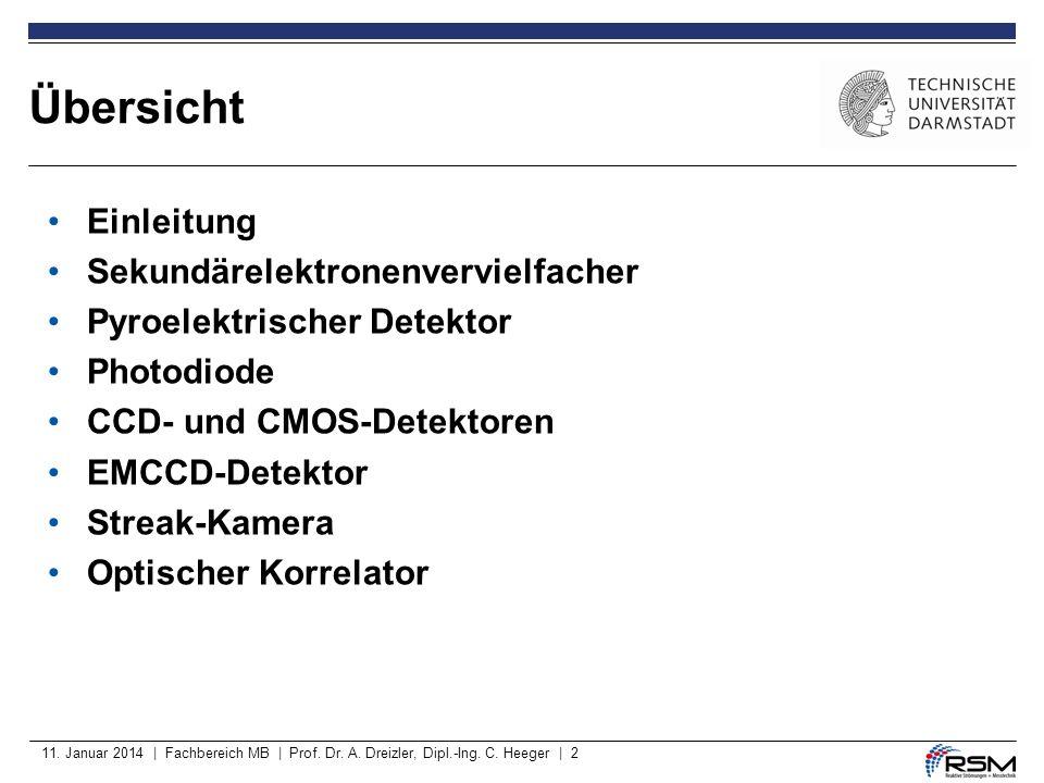 11. Januar 2014 | Fachbereich MB | Prof. Dr. A. Dreizler, Dipl.-Ing. C. Heeger | 2 Übersicht Einleitung Sekundärelektronenvervielfacher Pyroelektrisch
