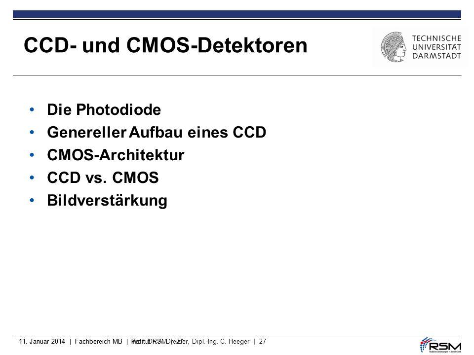 11. Januar 2014 | Fachbereich MB | Prof. Dr. A. Dreizler, Dipl.-Ing. C. Heeger | 2711. Januar 2014 | Fachbereich MB | Institut RSM | 27 CCD- und CMOS-