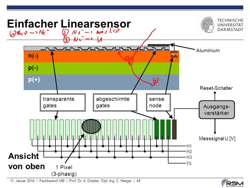 11. Januar 2014 | Fachbereich MB | Prof. Dr. A. Dreizler, Dipl.-Ing. C. Heeger | 49 Einfacher Linearsensor p(-) p(+) n(-) n(+) transparente gates abge