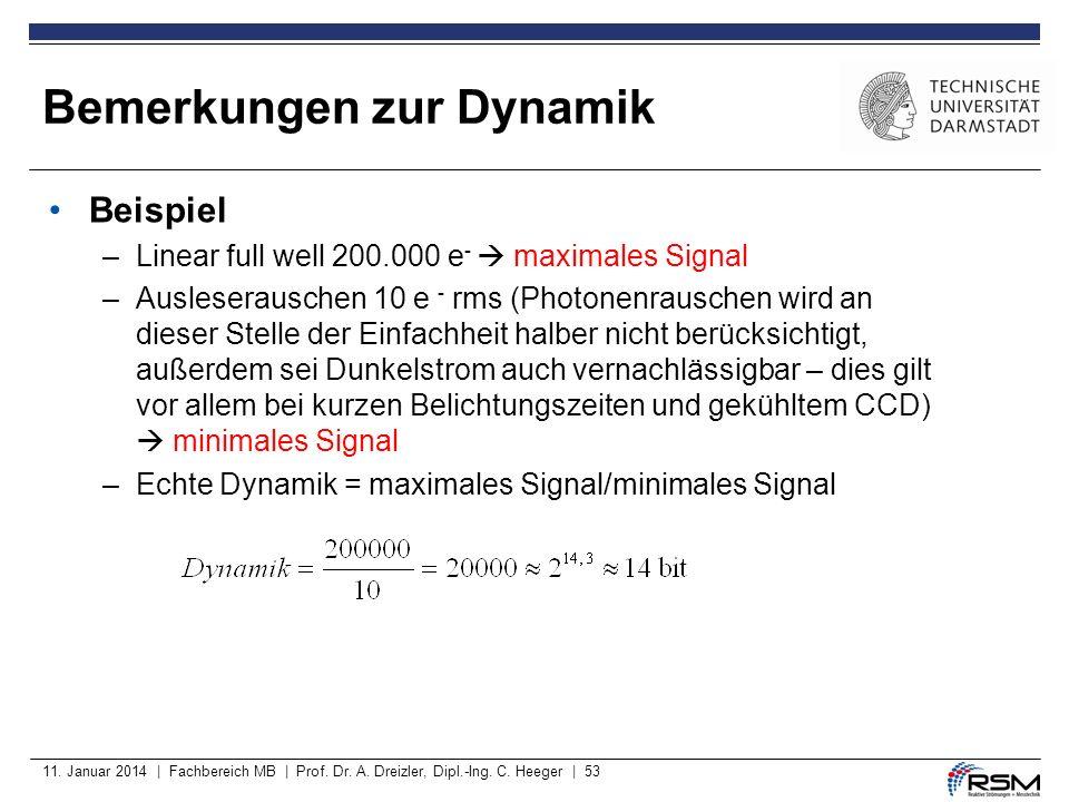11. Januar 2014 | Fachbereich MB | Prof. Dr. A. Dreizler, Dipl.-Ing. C. Heeger | 53 Beispiel –Linear full well 200.000 e - maximales Signal –Auslesera
