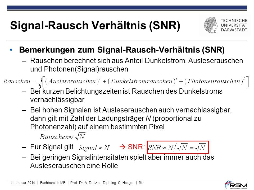 11. Januar 2014 | Fachbereich MB | Prof. Dr. A. Dreizler, Dipl.-Ing. C. Heeger | 54 Bemerkungen zum Signal-Rausch-Verhältnis (SNR) –Rauschen berechnet