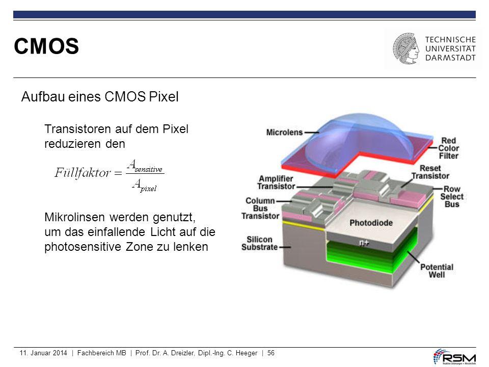 11. Januar 2014 | Fachbereich MB | Prof. Dr. A. Dreizler, Dipl.-Ing. C. Heeger | 56 CMOS Aufbau eines CMOS Pixel Transistoren auf dem Pixel reduzieren